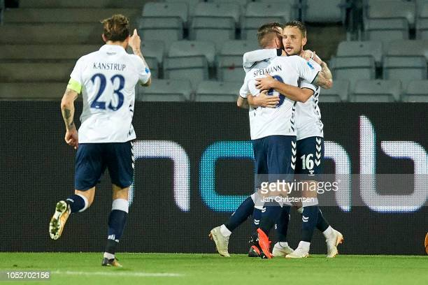 Martin Spelmann of AGF Arhus and teammates celebrate after his 21 goal during the Danish Superliga match between AGF Arhus and AaB Aalborg at Ceres...