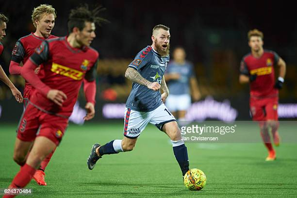 Martin Spelmann of AGF Arhus controls the ball during the Danish Alka Superliga match between FC Nordsjalland and AGF Arhus at Right to Dream Park on...