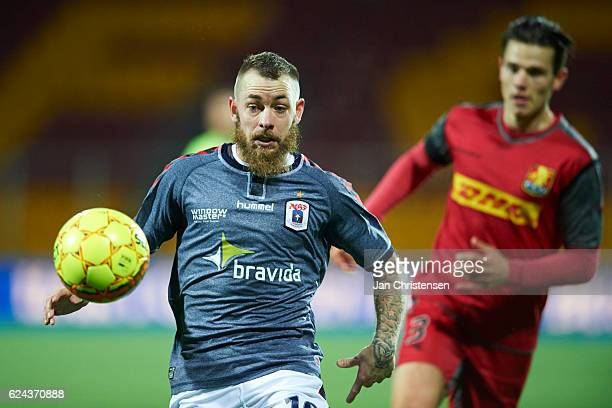 Martin Spelmann of AGF Arhus in action during the Danish Alka Superliga match between FC Nordsjalland and AGF Arhus at Right to Dream Park on...