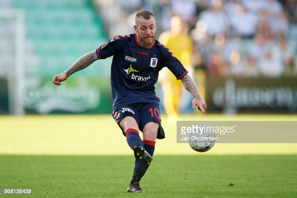 Martin Spelmann of AGF Arhus in action during the Danish Alka Superliga match between OB Odense and AGF Arhus at EWII Park on May 13 2018 in Odense...
