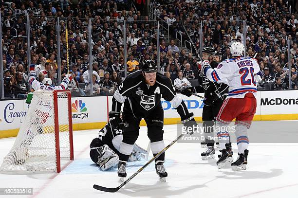 Martin St Louis and Chris Kreider of the New York Rangers celebrate after scoring goal against the Los Angeles Kings in the second period of Game...