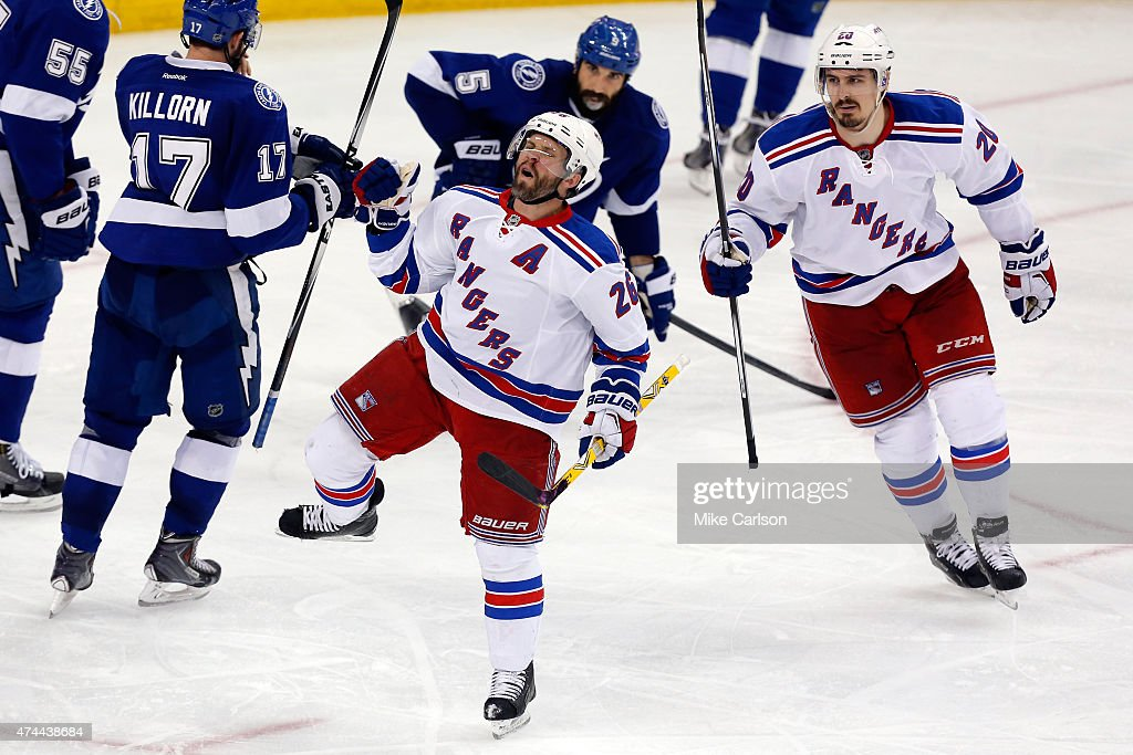 Martin St. Louis #26 celebrates after scoring a goal against Ben Bishop #30 of the Tampa Bay Lightning during the third period in Game Four of the Eastern Conference Finals during the 2015 NHL Stanley Cup Playoffs at Amalie Arena on May 22, 2015 in Tampa, Florida.