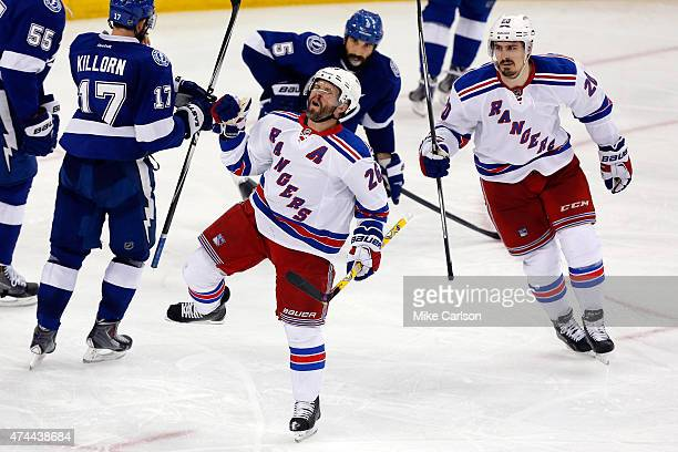 Martin St Louis celebrates after scoring a goal agianst Ben Bishop of the Tampa Bay Lightning during the third period in Game Four of the Eastern...