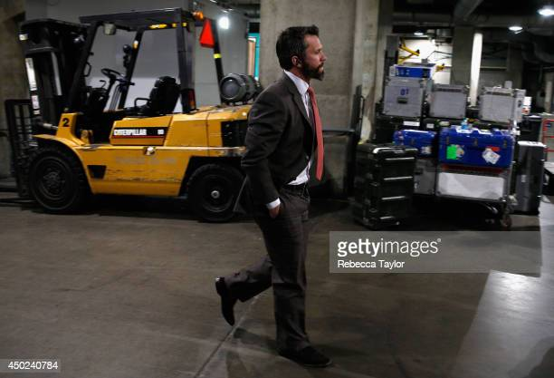 Martin St Louis of the New York Rangers arrives at the arena before Game Two of the 2014 Stanley Cup Final against the Los Angeles Kings at Staples...