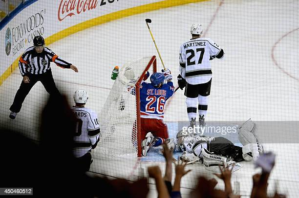 Martin St Louis of the New York Rangers celebrates his goal against Jonathan Quick of the Los Angeles Kings during the second period of Game Four of...