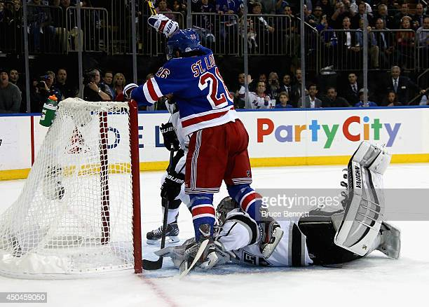 Martin St Louis of the New York Rangers celebrates his goal on Jonathan Quick of the Los Angeles Kings during the second period of Game Four of the...