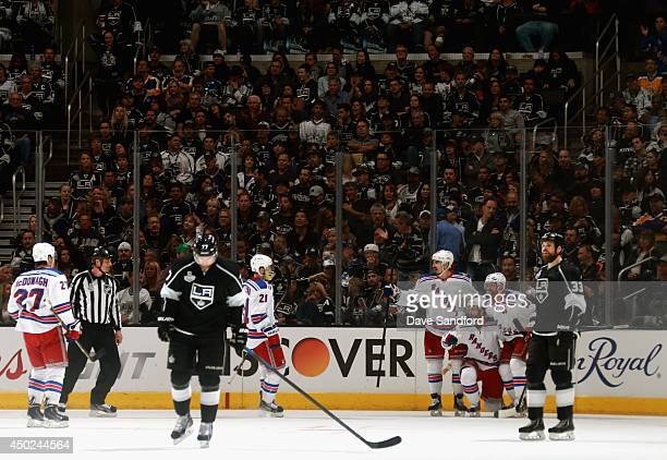 Martin St Louis of the New York Rangers celebrates his goal with teammates in the second period of Game Two of the 2014 Stanley Cup Final at Staples...