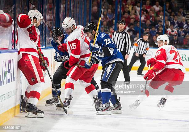 Martin St Louis of the Tampa Bay Lightning battles for the puck against Riley Sheahan and the Detroit Red Wings during the first period at the Tampa...