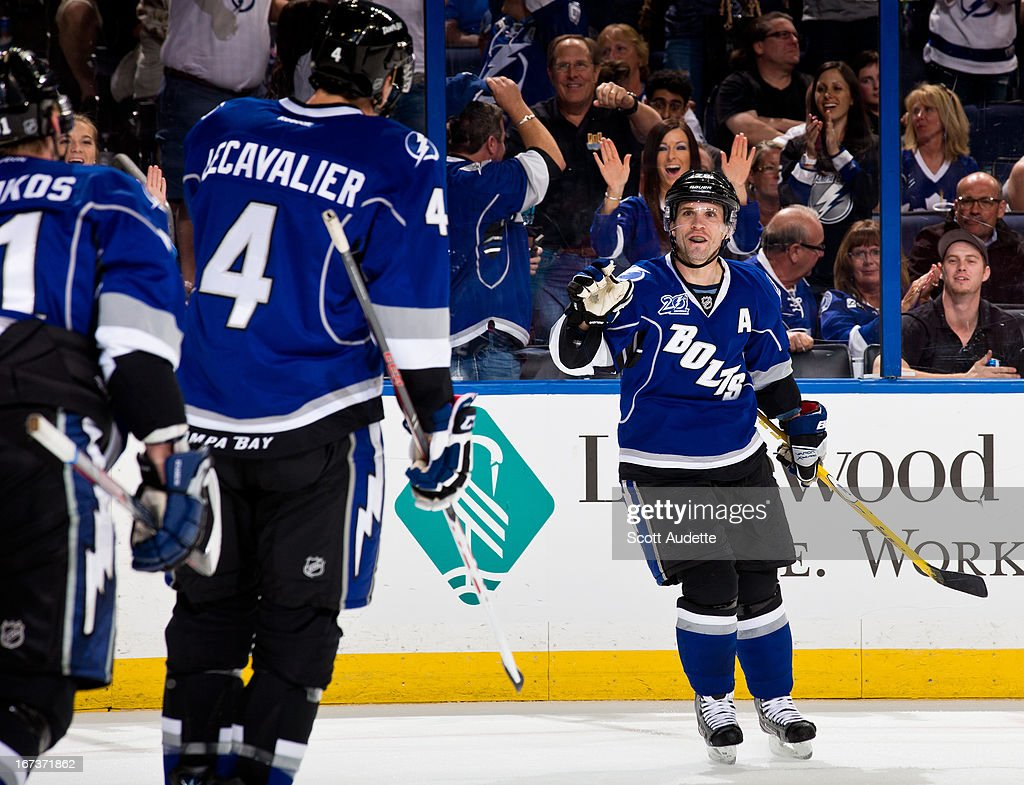 Martin St. Louis #26 of the Tampa Bay Lightning celebrates after scoring his third goal during the game against the Toronto Maple Leafs 5-2 at the Tampa Bay Times Forum on April 24, 2013 in Tampa, Florida.