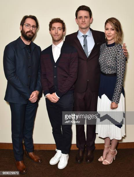 Martin Starr Thomas Middleditch Zach Woods and Amanda Crew attend Silicon Valley S5 FYC at The Paramount Lot on May 15 2018 in Hollywood California