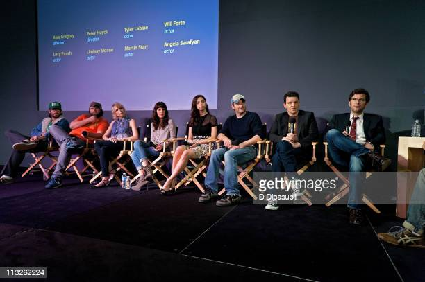 Martin Starr Tyler Labine Lucy Punch Lindsay Sloane Angela Sarafyan Will Forte Alex Gregory and Peter Huyck visit the Apple Store Soho on April 28...