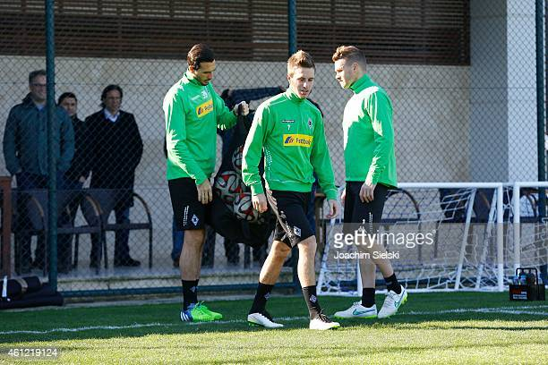 Martin Stranzl Patrick Herrmann and Filip Daems attends a training session at day two of Borussia Moenchengladbach training camp on January 9 2015 in...