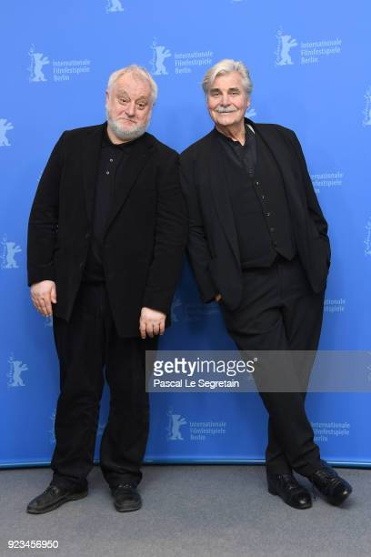 Martin Sulik and Peter Simonischek pose at the 'The Interpreter' photo call during the 68th Berlinale International Film Festival Berlin at Grand...