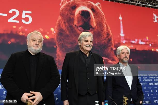 Martin Sulik, Peter Simonischek and Rudolf Biermann attend the 'The Interpreter' press conference during the 68th Berlinale International Film...