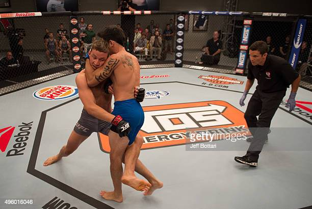 Martin Svensson takes down Thanh Le during the filming of The Ultimate Fighter: Team McGregor vs Team Faber at the UFC TUF Gym on August 7, 2015 in...