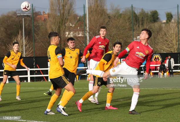 Martin Svidersky of Manchester United U18s in action during the U18 Premier League match between Wolverhampton Wanderers U18s and Manchester United...