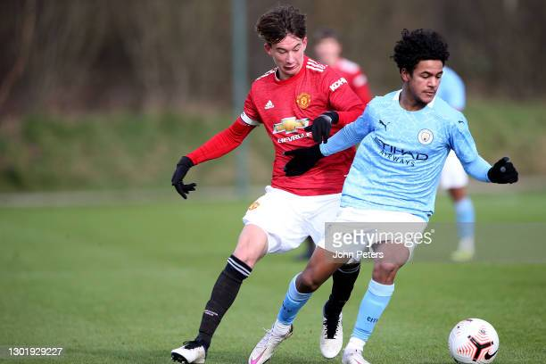 Martin Svidersky of Manchester United U18s in action during the U18 Premier League match between Manchester United U18s and Manchester City U18s at...