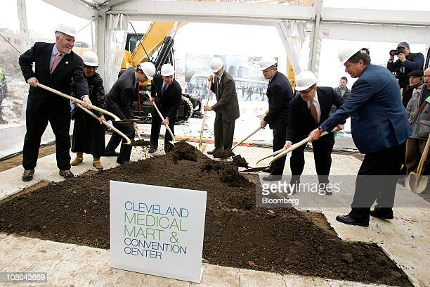 Martin Sweeney, president of the Cleveland City Council, from left, Ellen Connally, president of the Cuyahoga County Council, Ed Fitzgerald, a...