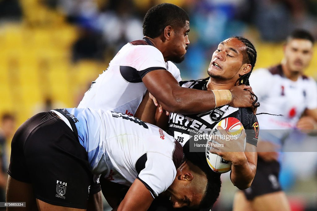 Martin Taupau of the Kiwis charges forward during the 2017 Rugby League World Cup Quarter Final match between New Zealand and Fiji at Westpac Stadium on November 18, 2017 in Wellington, New Zealand.