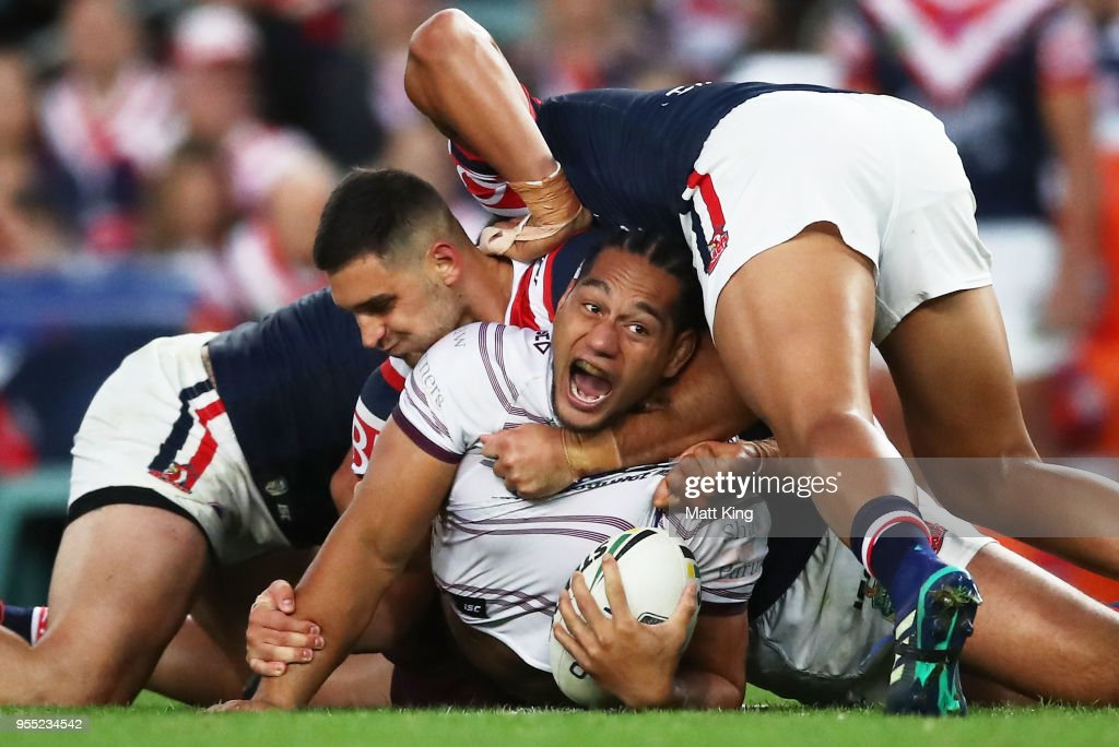 Martin Taupau of the Sea Eagles appeals to the referee in a tackle during the round nine NRL match between the Sydney Roosters and the Manly Warringah Sea Eagles at Allianz Stadium on May 6, 2018 in Sydney, Australia.