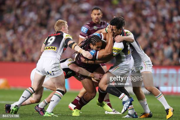 Martin Taupau of the Sea Eagles is tackled during the NRL Elimination Final match between the Manly Sea Eagles and the Penrith Panthers at Allianz...