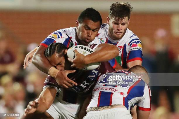 Martin Taupau of the Sea Eagles is tackled during the Round eight NRL match between the ManlyWarringah Sea Eagles and the Newcastle Knights at...