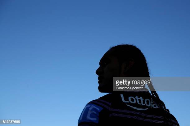 Martin Taupau of the Sea Eagles looks on during the round 19 NRL match between the Manly Sea Eagles and the Wests Tigers at Lottoland on July 16 2017...