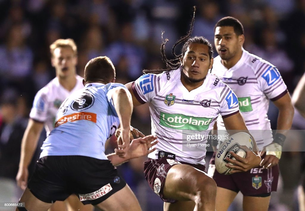 Martin Taupau of the Sea Eagles makes a break during the round 16 NRL match between the Cronulla Sharks and the Manly Sea Eagles at Southern Cross Group Stadium on June 25, 2017 in Sydney, Australia.