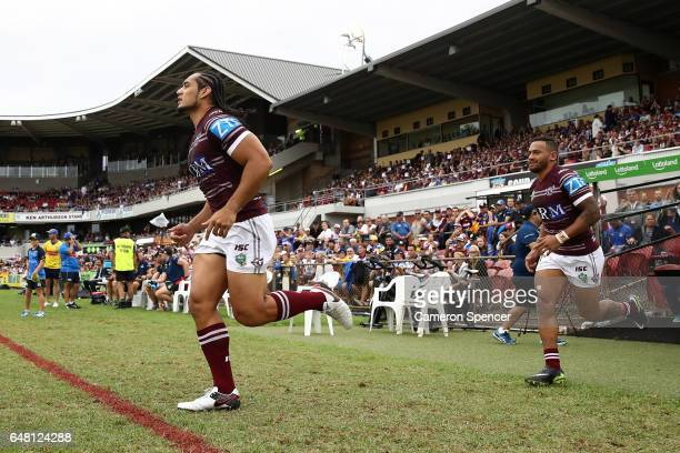 Martin Taupau of the Sea Eagles runs onto the field during the round one NRL match between the Manly Sea Eagles and the Parramatta Eels at Lottoland...