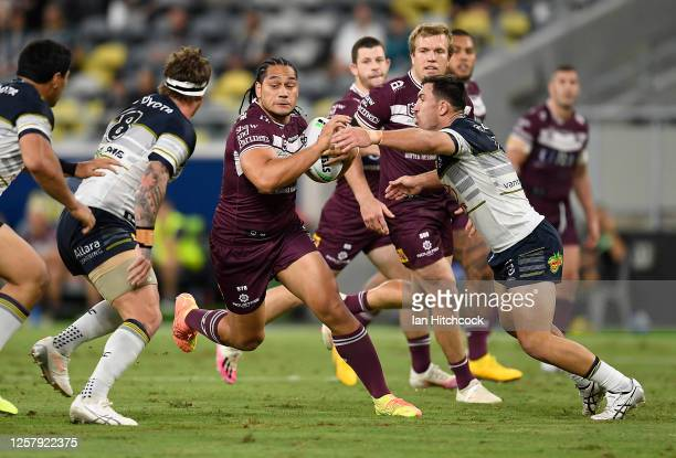 Martin Taupau of the Sea Eagles runs the ball during the round 11 NRL match between the North Queensland Cowboys and the Manly Warringah Sea Eagles...