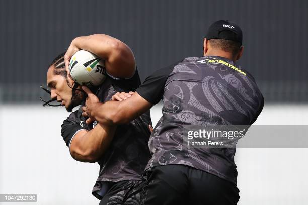 Martin Taupau runs through drills during a New Zealand Kiwis training session at Mt Smart Stadium on October 8 2018 in Auckland New Zealand
