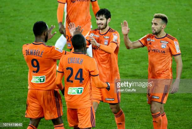 Martin Terrier of Lyon celebrates his goal with teammates during the french League Cup at Stade de la Licorne on December 19 2018 in Amiens France