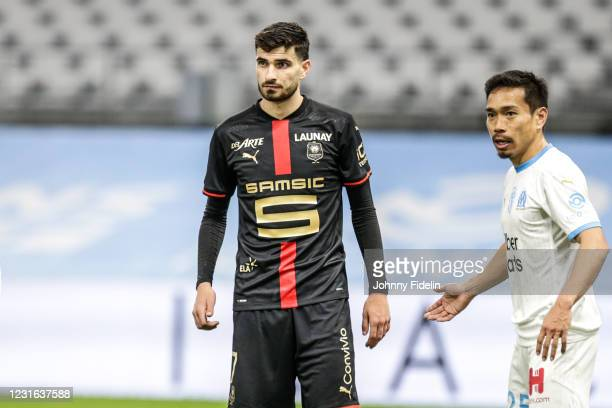 Martin TERRIER of Rennes during the Ligue 1 Uber Eats match between Marseille and Rennes at Orange Velodrome on March 10, 2021 in Marseille, France.