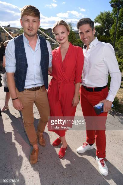 Martin Tietjen Antonia Scheurlen and Christian Polanc attend the Guido Maria Kretschmer show during the Berlin Fashion Week Spring/Summer 2019 at...