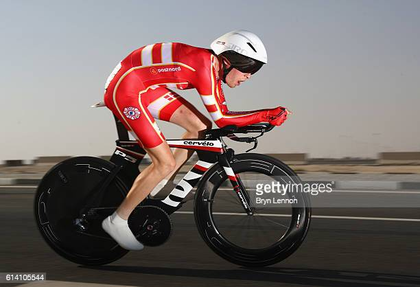 Martin Toft Madsen of Denmark rides during the Men's Elite Individual Time Trial on Day Four of the UCI Road World Championships at Lusail Sports...