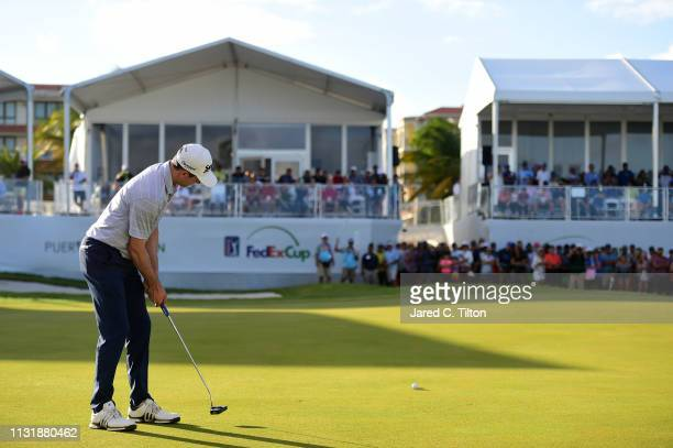 Martin Trainer attempts his birdie putt on the 18th green during the final round of the Puerto Rico Open at Coco Beach Golf and Country Club on...
