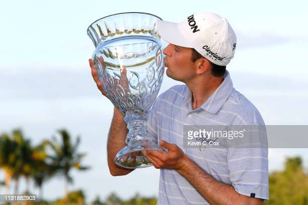 Martin Trainer poses with the trophy after winning the Puerto Rico Open at Coco Beach Golf and Country Club on February 24 2019 in Rio Grande Puerto...