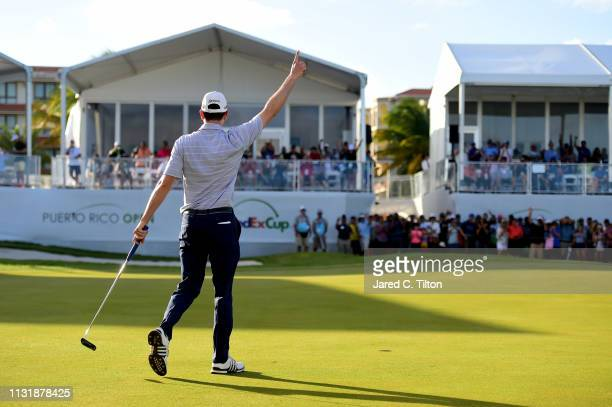 Martin Trainer reacts following his birdie putt on the 18th green to win the Puerto Rico Open at Coco Beach Golf and Country Club on February 24 2019...