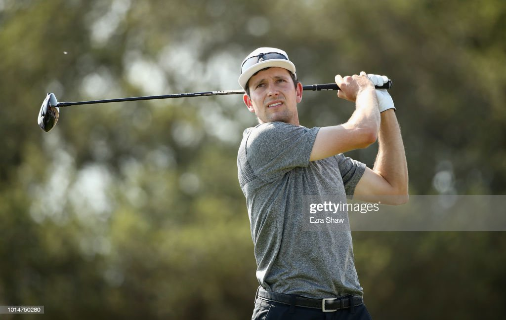 Martin Trainer tees off on the seventh hole during Round Two of the Ellie Mae Classic at TBC Stonebrae on August 10, 2018 in Hayward, California.