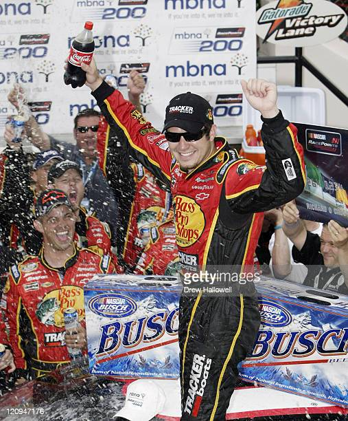 Martin Truex Jr and his crew celebrate after winning the Nascar Busch Series MBNA RacePoints 200 June 4 2005 at the Dover International Speedway in...