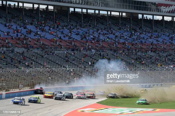 Martin Truex Jr driver of the Bass Pro Shops Toyota Alex Bowman driver of the ChevyGoodscom/Adam's Polishes Chevrolet Kyle Busch driver of the...
