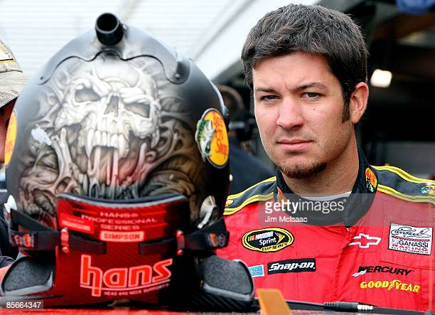 Martin Truex Jr driver of the Bass Pro Shops/Tracker Boats Chevrolet during practice for the NASCAR Sprint Cup Series Goody�s Fast Pain Relief 500 at...