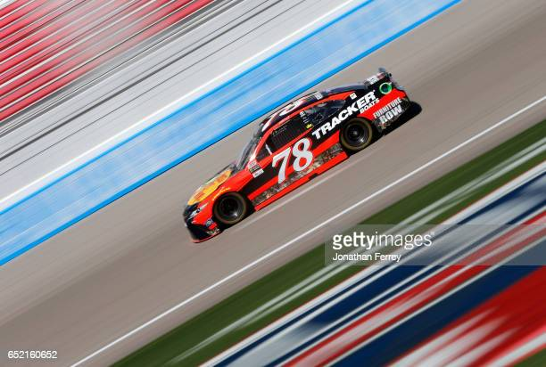 Martin Truex Jr driver of the Bass Pro Shops/TRACKER BOATS Toyota practices for the Monster Energy NASCAR Cup Series Kobalt 400 at Las Vegas Motor...
