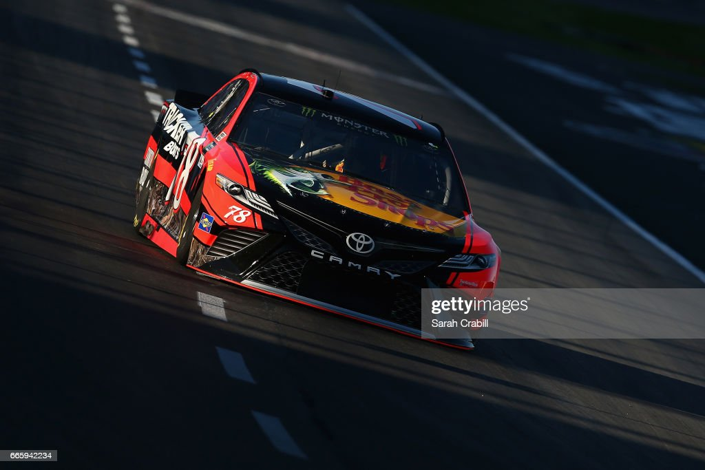 Martin Truex Jr., driver of the #78 Bass Pro Shops/TRACKER BOATS Toyota, drives during qualifying for the Monster Energy NASCAR Cup Series O'Reilly Auto Parts 500 at Texas Motor Speedway on April 7, 2017 in Fort Worth, Texas.