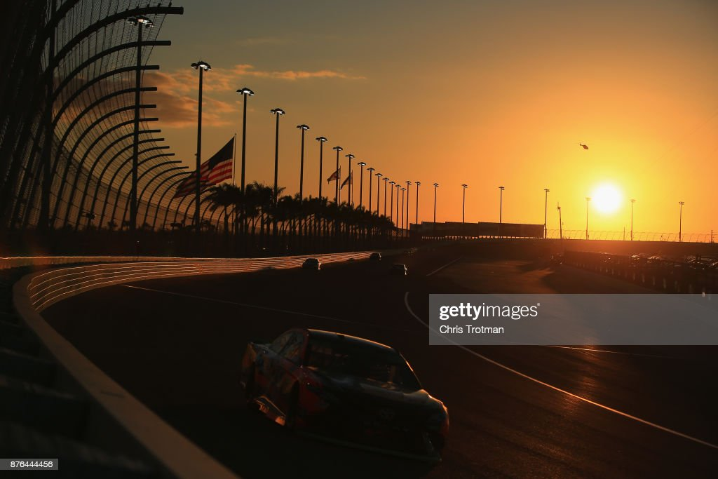 Martin Truex Jr., driver of the #78 Bass Pro Shops/Tracker Boats Toyota, races during the Monster Energy NASCAR Cup Series Championship Ford EcoBoost 400 at Homestead-Miami Speedway on November 19, 2017 in Homestead, Florida.