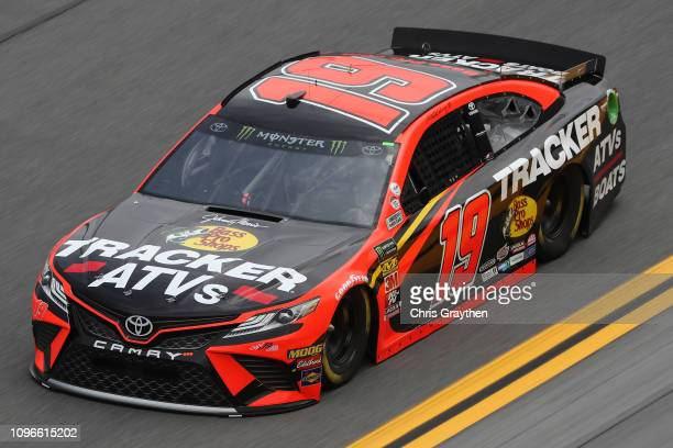Martin Truex Jr driver of the Bass Pro Shops/Trdacker ATVs Toyota drives during practice for the Monster Energy NASCAR Cup Series Advance Auto Parts...