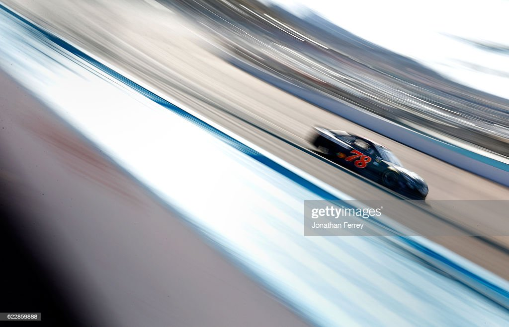 Martin Truex Jr., driver of the #78 Furniture Row/Denver Mattress Toyota, practices for the NASCAR Sprint Cup Series Can-Am 500 at Phoenix International Raceway on November 12, 2016 in Avondale, Arizona.