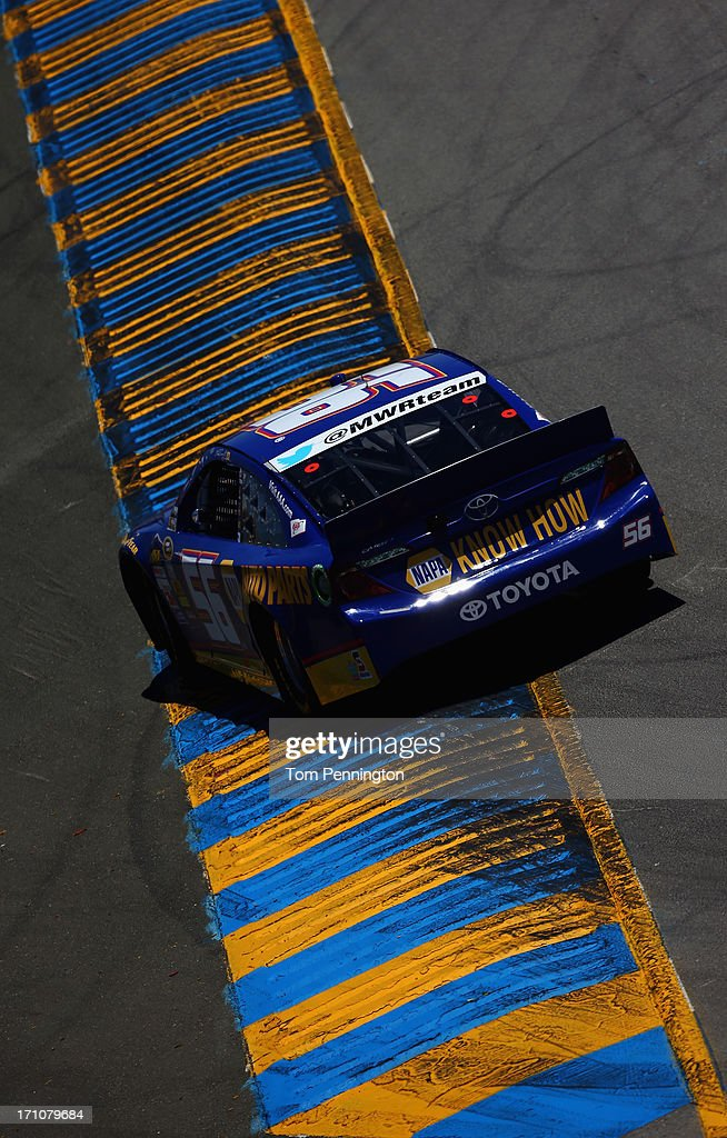 Martin Truex Jr., driver of the #56 NAPA Auto Parts Toyota, drives during practice for the NASCAR Sprint Cup Series Toyota/Save Mart 350 at Sonoma Raceway on June 21, 2013 in Sonoma, California.