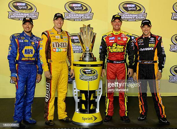 Martin Truex Jr driver of the NAPA Auto Parts Toyota Kyle Busch driver of the MM's American Heritage Chocolate Toyota Clint Bowyer driver of the...
