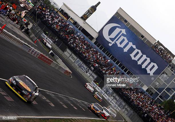 Martin Truex Jr. Drives his Bass Pro ShopsChevrolet Monte Carlo in front of the pack during the Telcel Mexico 200 Nascar Busch Series Race at the...